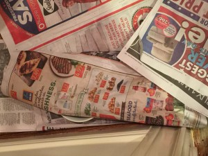 See George's dish buried under the newspaper?